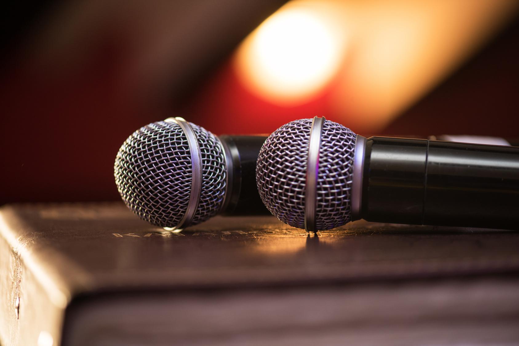 Closeup of audio microphones