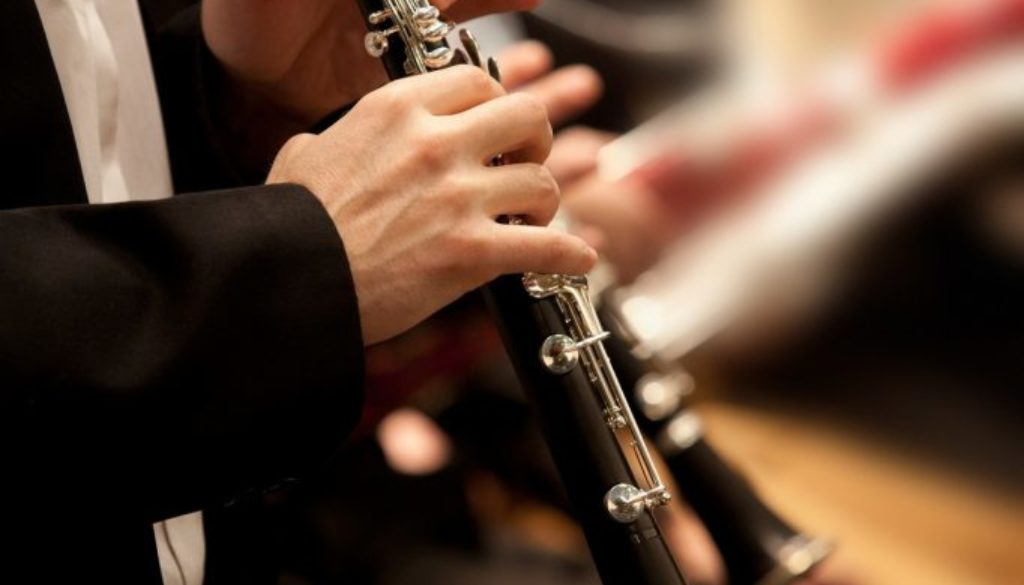 Hands of man playing the clarinet in the orchestra in dark color