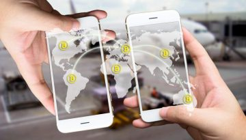 Two Businessman hands holding smartphones. Fintech concept , Peer-to-peer , logistic , blockchain , bitcoin concept with map and world connect , airplane in airport abstract background
